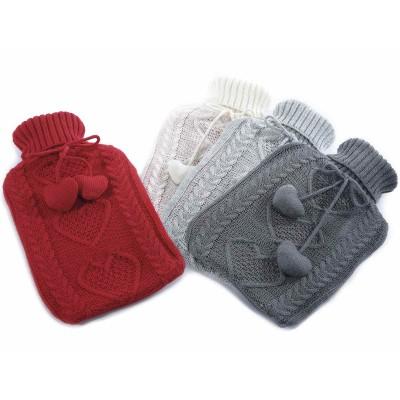Set 4 Borse acqua calda 2L con cuori e rivestimento a maglia