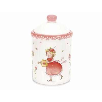 """Set 2 barattoli in ceramica lucida con decoro """"Fragolina"""" in rilievo"""