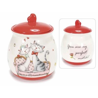 Barattolo in ceramica lucida con gattini innamorati