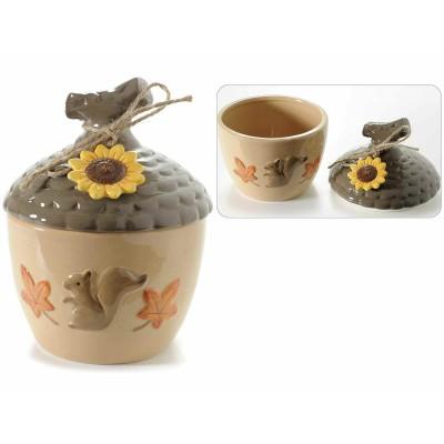 Set 2 barattoli in ceramica a forma di ghianda e decoro in rilievo