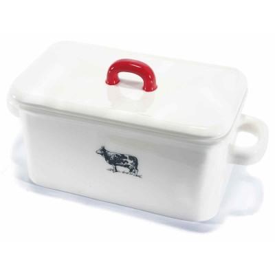 Set 2 contenitori in ceramica bianca con coperchio e stampa Fattoria