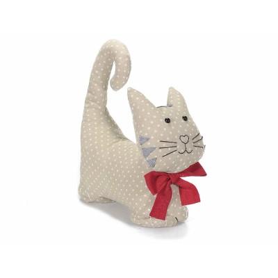 Fermaporta gattino con fiocco rosso in stoffa imbottita