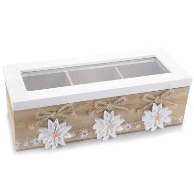 Set 2 scatole del tè a 3 scomparti in legno con stelle alpine