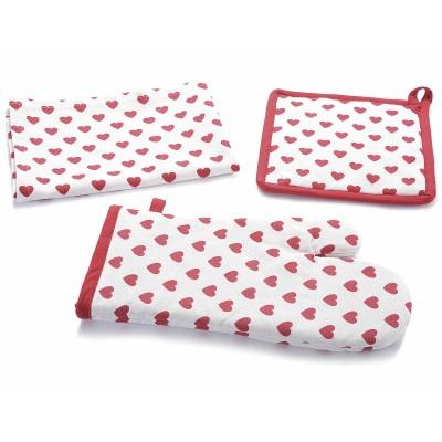 2 Set di asciugapiatti, presine, guanti cucina cotone a cuoricini