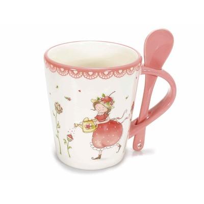 """Set 2 tazza ceramica con decoro """"Fragolina"""" in rilievo e cucchiaino"""
