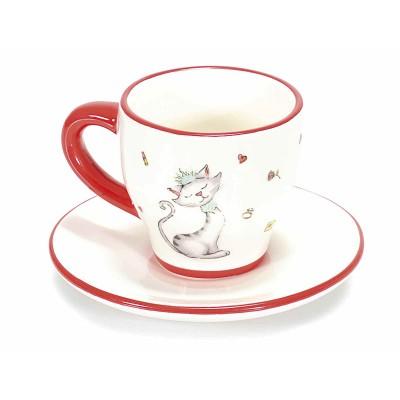 Set 2 Tazzina in ceramica lucida con gattina innamorata e piattino