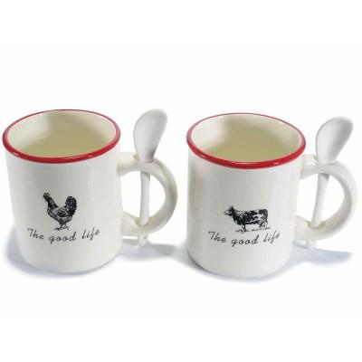 """Set 4 tazze in ceramica con stampa """"Fattoria"""" e con cucchiaino"""