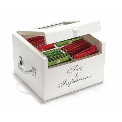 Set 2 scatole del té spezie a 4 scomparti in legno bianco e manici