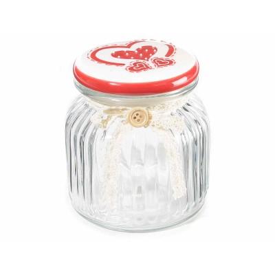 Set 3 barattoli in vetro con tappo ceramica decorato e fiocco pizzo