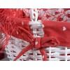 Set 3 cestini ovali legno bianco c/manico e stoffa a cuori