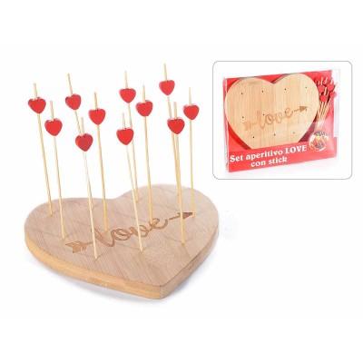 Set 4  aperitivi cuore in legno con 11 stick in conf. singola