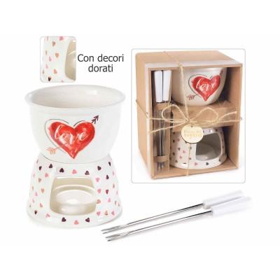 Set fondue porcellana con decori oro rosa e scatola regalo