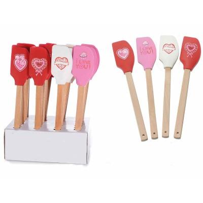 24 spatole per dolci in legno e silicone in espositore