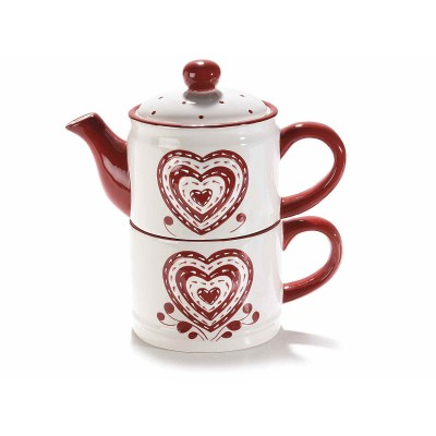 2 Set teiera e tazza in ceramica con decori a cuore in rilievo