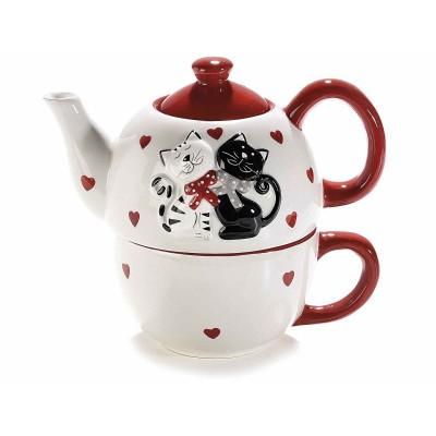 2 Set teiera e tazza ceramica con decori gatti in rilievo