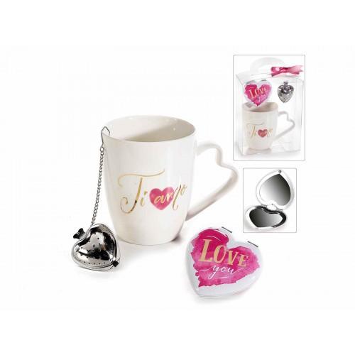 2 set tazza porcellana filtro e specchio a cuore scritta oro - Specchio a cuore ...