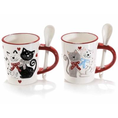 Set 4 tazze ceramica con gatti in rilievo e cucchiaino integrato