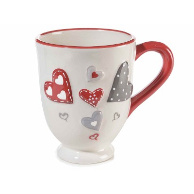 Set 4 tazze in ceramica con decori a cuore in rilievo