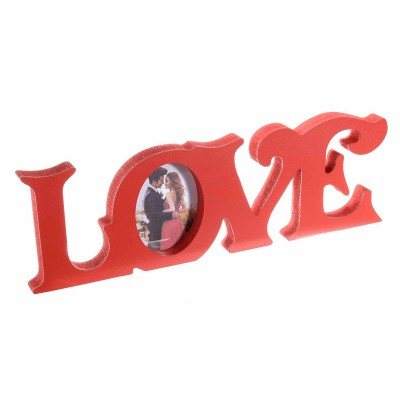 Set 4 portafoto Love in legno rosso