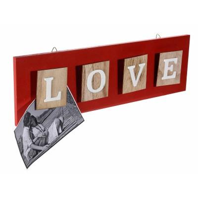 Set 4 bacheche colorate in legno con scritta Love a molletta