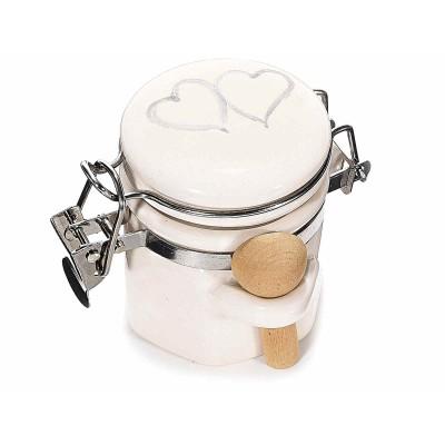 Set 6 barattolini ceramica con chiusura ermetica e cucchiaio legno