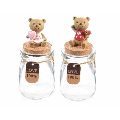 Set 6 barattolini in vetro con orsetto innamorato su tappo