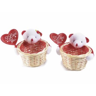 Set 6 cestini in legno interno organza con orsetto I love you