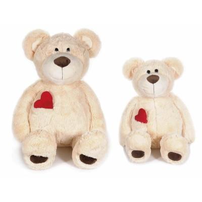 Set 2 orsetti in peluche con cuore rosso e taschino