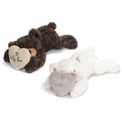 Set 2 orsetti di peluche coricato con cuore imbottito