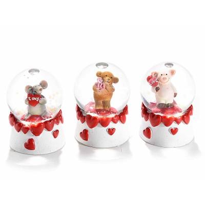 Set 6 palle a neve con animaletti innamorati e cuori