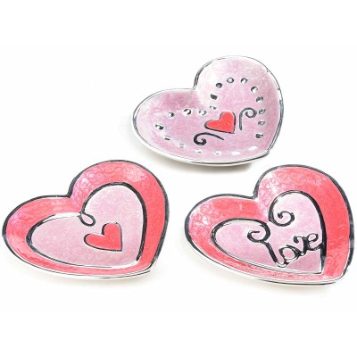 Set 3 piatti a cuore in ceramica con decori in rilievo