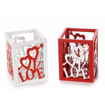Set 4 portacandele in legno e vetro con scritta Love e cuori