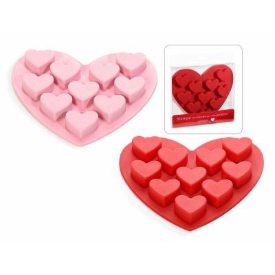 Set 8 stampi in silicone per 10 cioccolatini a cuore