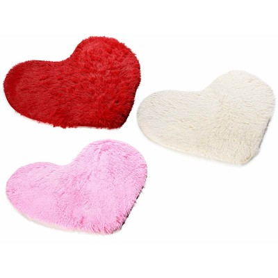 Set 3 tappeti a cuore in morbido finto pelo con base antiscivolo