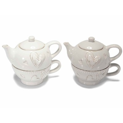 2 Set teiera e tazza in ceramica con decori cuori in rilievo