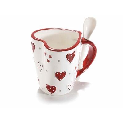Set 4 tazze ceramica cuore con cuori rilievo e cucchiaino integrato