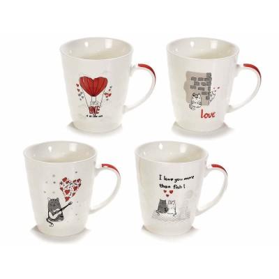 Set 8 tazze mug in porcellana con gatto innamorato e manico rosso