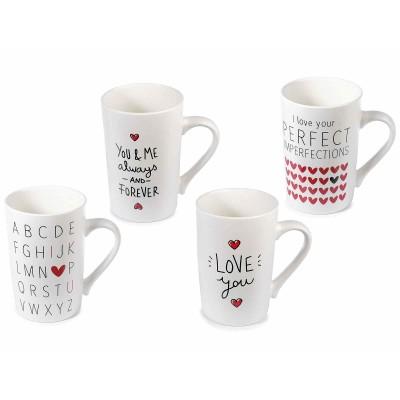 Set 4 tazze mug in porcellana con cuori e scritte