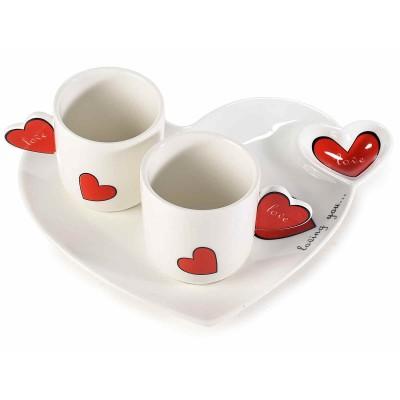 Set 4  tazzine porcellana Love con manico e piatto a cuore