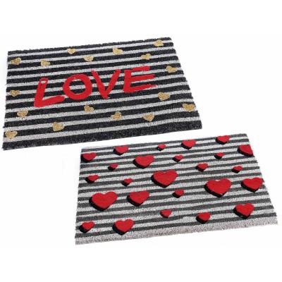 Set 2 zerbini Love con decori velluto e glitter base antiscivolo