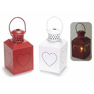 Set 2 lanterne portacandele in metallo con cuore
