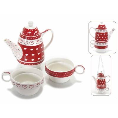 Set teiera e 2 tazze in porcellana con cuori e pois