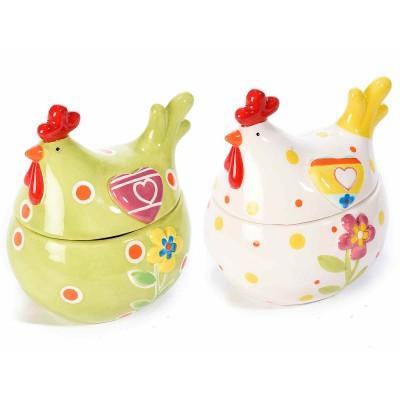Set 2 barattoli portadolci in ceramica colorata a forma di gallina