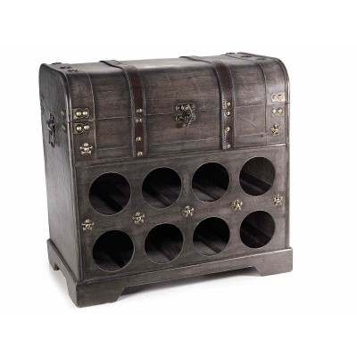 Mobiletto in legno portabottiglia con 8 scomparti e bauletto