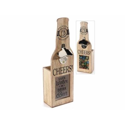 Set 2  apribottiglie in legno e vetro c/contenitore raccogli tappi