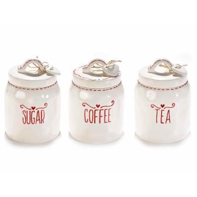 Set 3 barattoli ermetici ceramica con scritta e coperchio con cuore