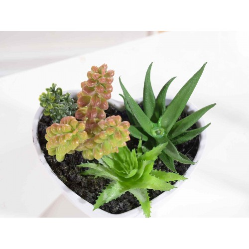 Set 3 Vasi A Cuore Di Piante Grasse Artificiali