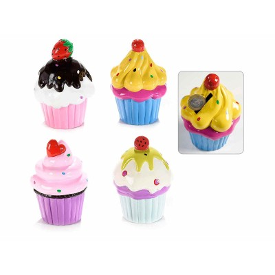 Set 4 salvadanai a cupcake in resina colorata
