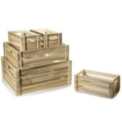 Set 5 cassette decorative in legno naturale